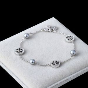 NWT Tory Burch SILVER Crystal & Pearly Bracelet